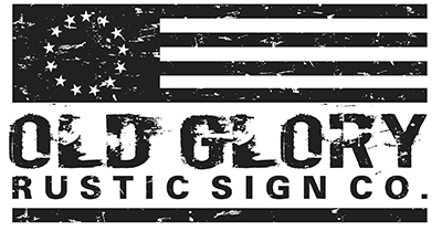 Old Glory rustic sign logo
